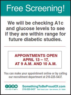 Free Screening! Today through Friday. Call 210-225-5437 or click here to make an appointment.  #ICONEarlyPhaseServices #FreeScreening #A1c #Type2 #DM2