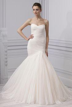 "Brides: Monique Lhuillier - Spring 2013. ""Forever"" strapless draped blush tulle trumpet wedding dress with a sweetheart neckline, Monique Lhuillier"