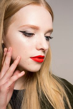 bold eyeliner and red lip