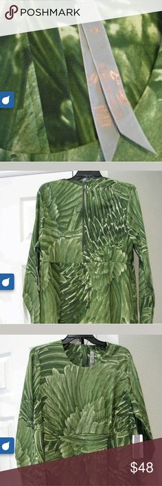Melissa Mccarthy Green Winged Top Beautiful tunic length top that Looks likes wings or feather. A beautiful green tunic you will fall in love with Melissa McCarthy Tops Tunics