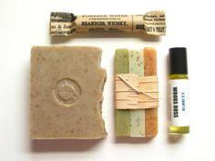 Mens Ultra Soap Gift Set // Natural Travel Soap Mint Lip Balm Cologne Oil Birch Bark Groomsmen