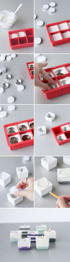 Crazy cool concrete votives, made with silicone ice cube trays! #DIY