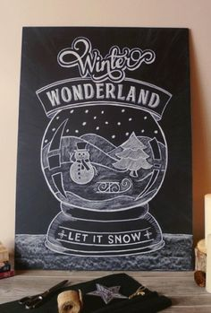 Winter Wonderland Christmas Chalk art, 2015 Let it Snow Christmas Chalk Print