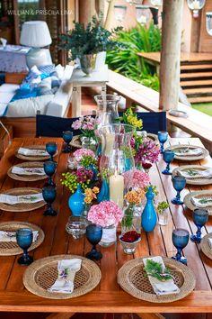 Decoração para Casamento na Praia com cores Azul e Rosa. Este casamento aconteceu em Trancoso, BA. Mais fotos no blog.