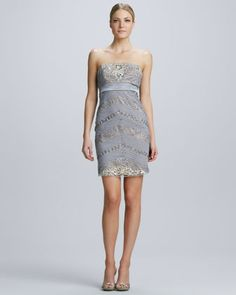 Strapless Mixed Media Cocktail Dress  by Sue Wong at Neiman Marcus.