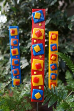 Outdoor Decor Garden Art. Attach stake with flexible glue and then coat with silicone.