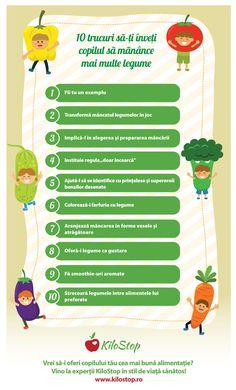 #nutritie #copii #legume Copilul tău fuge cât îl țin picioarele când vine vorba să mănânce legume? Îi explici degeaba că sunt pline de vitamine bune pentru organism? Încearcă puterea exemplului sau alte trucuri din infograficul alăturat! Dacă vrei și alte idei, citește pe blog Eat Smart, Kids Education, Toddler Activities, Experiment, Healthy Lifestyle, Parenting, Children, Crafts, Childhood Education