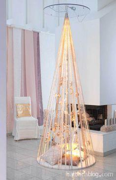 halbachblog I alternativer Weihnachtsbaum weiss-gold mit Licht I Inspirations-Sammlung