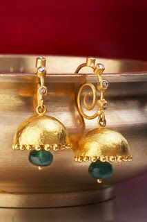 Gold Jewellery Designs: 22ct Gold antique style jumka earrings with green jade