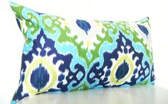 Green Ikat Pillows, Long Bolster Pillow, Bohemian Decor, Monaco Blue, 12x22 Inch or 18x18 Black Friday Etsy Cyber Monday Etsy$49