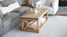 Build the farmhouse coffee table for under $40 with just a drill and a saw! This is a beginner friendly DIY project that should only take a couple hours to complete. Our free plans make it easy! Step by step diagrams, shopping and cut list from Ana-White.com. #anawhite #anawhiteplans #diy #diyfurniture #coffeetable #farmhouse #homedecor #diytable Diy Coffee Table Plans, Coffee Table Frame, End Table Plans, Simple Coffee Table, Diy Furniture Plans, Diy Furniture Projects, Farmhouse Furniture, Farmhouse Table, Woodworking Projects