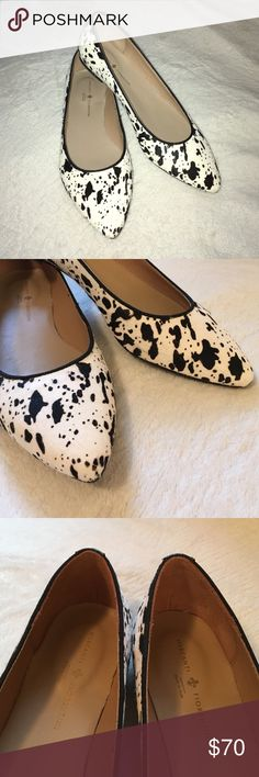 Mercanti Fiorentini Genuine Leather and Hide Flats GORGEOUS! NEVER WORN OUTSIDE! Black and white Mercanti Fiorentini pointed flats. Made in Italy. Size 8.5, fits more like an 8. Mercanti Fiorentini Shoes Flats & Loafers