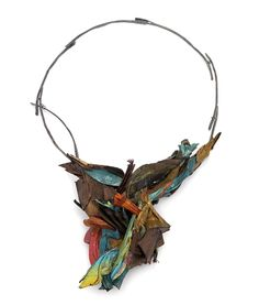 Attai Chen Necklace: Untitled, 2015 Paper, wood, paint, glue, silver 32 X 21 X 6 cm Photo by: Attai Chen From series: Compounding Fractions