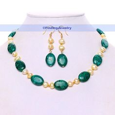 "17"" Chinese Unakite & Yellow Pearl Necklace Earring Set 