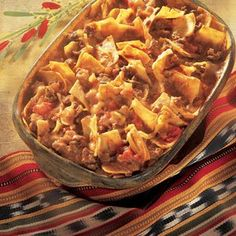 """Beef Taco Bake Ingredients 1 lb. ground beef 1 can Campbell's® Condensed Tomato Soup 1 cup Pace® Chunky Salsa OR Pace® Picante Sauce ½ cup milk 6 (8"""") flour tortillas, cut into 1"""" ..."""