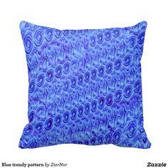 Blue trendy pattern throw pillows