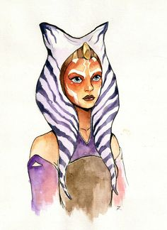 krepf:  Ahsoka Tano from Star Wars Rebels ink + watercolours + white gel pen You can see it also on my DeviantArt -http://fav.me/d9c6t22
