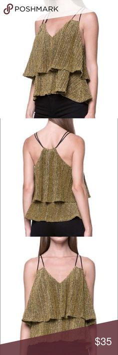 Golden Crop Top Golden layered crop top with spaghetti straps Tops Crop Tops