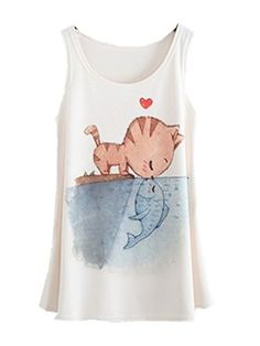 YICHUN - Camiseta sin mangas - para mujer Blanco Kiss of Cat and Fish Talla única Camiseta