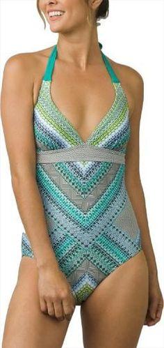 62306a8c60366 prAna Women s Lahari One-Piece Swimsuit Emerald Riviera XS Cute Bathing  Suits