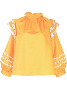 Marigold yellow cotton Elia scalloped embroidered top from Cynthia Rowley featuring a ruffled neck, long sleeves, a layered design, a boxy fit, embroidered details and a boxy fit. Cynthia Rowley, Layers Design, World Of Fashion, Size Clothing, Your Style, Women Wear, Clothes For Women, Yellow, Long Sleeve