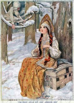 Enchanting Rare Jack FROST And RUSSIAN Princess Vintage Digital Illustration. Vintage Christmas DIGITAL Download. Fairy Tale Illustration.