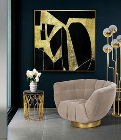 Horizontal Abstract Painting, Large Abstract Painting Art, Large Rectangular Horizontal Canvas Art, Black And Gold Leaf Horizontal Painting ********** DETAILS ********** * Made to order ********************************************* Custom sizes I can create but not limited to are: