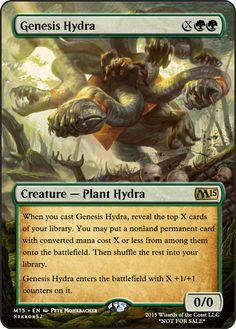 Genesis Hydra Mtg Hydra, Game Card Design, Mtg Altered Art, Mtg Art, Magic The Gathering Cards, Magic Cards, Card Games, It Cast, Creatures