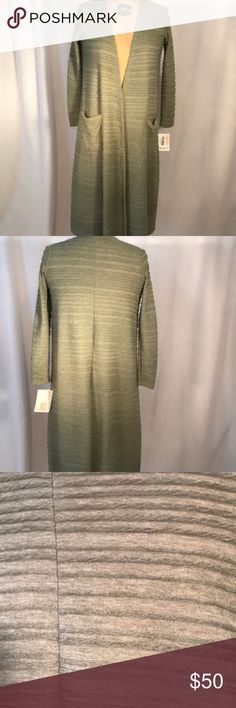 Sweater Lularoe Sarah, long sweater. Miss green with textured striped. 65% polyester and 35% Rayon. This sweater has some stretch to it. LuLaRoe Sweaters Shrugs & Ponchos