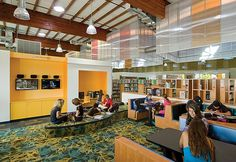 Collaborative Learning: Scotts Valley Library occupies a former indoor roller rink. The roller rink inspired the raised platform that forms . Teen Library Space, Future Library, Dream Library, Reading Library, Public Library Design, Central Library, Public Libraries, Education Architecture, Architecture Details