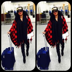 Moschino Hat Black Gold Trend Fashion Winter Style AW14 Red Black Plaid Shawl Rasheeda XO
