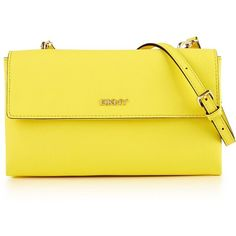 DKNY Bryant Park Double Flap Cross-Body Bag Yellow (230 CAD) ❤ liked on Polyvore featuring bags, handbags, shoulder bags, fillers, yellow, clutches, purses, leather shoulder bag, crossbody purses and leather crossbody