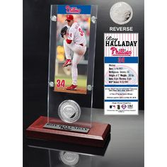 Roy Halladay Ticket and Minted Coin Desk Top Acrylic