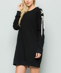 Loving this Black Lace-Up Sleeve Tunic on #zulily! #zulilyfinds