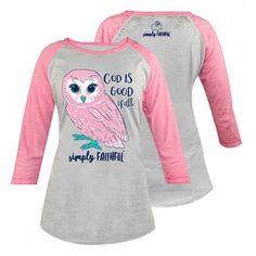 "Simply Southern® Ladies' Pink/Grey Owl ""God Is Good Y'all"" Raglan Tee Style: SF-OWL"