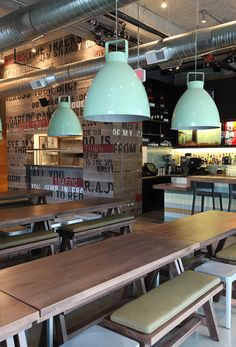 The Union Bar/Restaurant - Consider using these pendant lamps for the home if you're going for the industrial look. The colour Mint is a breath of fresh air to an otherwise dull palette