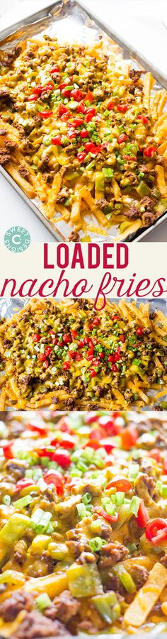 Loaded Nacho Fries- these are insanely easy, cheesy and delicious! Loaded Nacho Fries- these are insanely easy, cheesy and delicious! Think Food, I Love Food, Nacho Fries, Mexican Fries, Nacho Dip, Crunchwrap Supreme, Snacks Für Party, Football Food, Superbowl Food Ideas