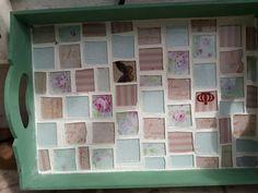 Bandeja en mosaico. Teselas hechas a mano en vidrio
