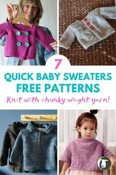 7 Quick-Knit Baby Sweater Free Patterns — Blog.NobleKnits Baby Sweater Knitting Pattern, Knit Baby Sweaters, Hoodie Pattern, Knitting Patterns Free, Free Pattern, Sweater Patterns, Baby Knits, Crochet Patterns, Knitting Blogs