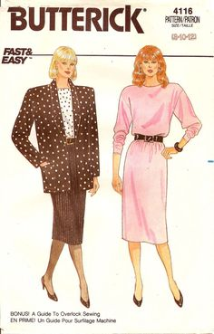 4116 Butterick 1980's Misses' Jacket, Skirt, & Top, Business attire, 1980's womens suit #SewingPattern #SkirtPattern #MoondancerCrafts #80sPattern #1980sPattern #VintagePatterns #EasySewingPattern #pattern #BusinessWomen #ButterickPattern
