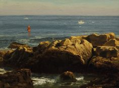"""""""Bass Rocks,"""" Joseph McGurl, oil on panel, 9 x 12"""", private collection."""