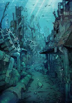 """Marine Castle"" original illustration by Posuka Demizu"
