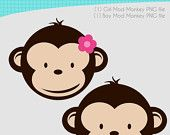 Girl and Boy Mod Monkey clipart for Personal Use ONLY 11x14 in. 300 dpi PNG