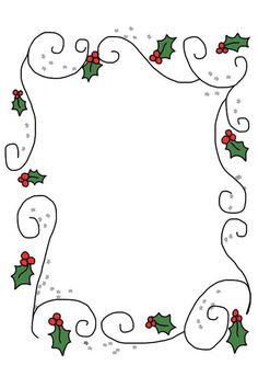 rectangular holly border with swirls Christmas Border, Christmas Frames, Noel Christmas, All Things Christmas, Christmas Graphics, Christmas Clipart, Christmas Printables, Christmas Doodles, Christmas Drawing
