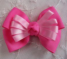 HOT PINK Grosgrain Satin Ribbon Bow Applique by delightfuldesigner