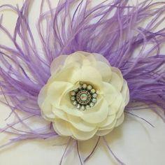 Fancy Lavender Ivory Flower Fascinator by Fancy Girl Boutique NYC