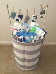 (Idea from my mother-in-law) - Baby Diy - Baby baby shower gift! (Idea from my mother-in-law) … Baby baby shower gift! (Idea from - Baby Shower Gift Basket, Baby Baskets, Baby Shower Gifts For Boys, Baby Shower Parties, Baby Boy Shower, Baby Shower Presents, Basket Gift, Baby Gifts For Boys, Shower Party