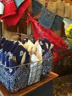 Bandanas used at napkins at our western boy baby shower. Bandanas used at napkins at our western boy Western Party Decorations, Decoration Table, Western Centerpieces, Cowboy Birthday, Cowboy Party, 50 Birthday, Horse Party, Cowboy Theme, Cowboy Baby Shower