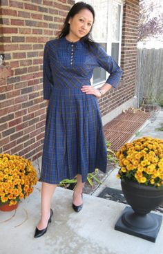 Vintage 50's blue plaid fall day dress by lovestoryvintage on Etsy, $40.00