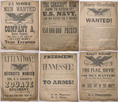 Set of 6 Civil War Recruiting Posters Sharpshooters Zouave Tennessee NJ